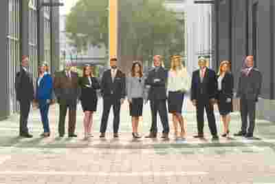 lawfirm staff group portrait in downtown baton rouge