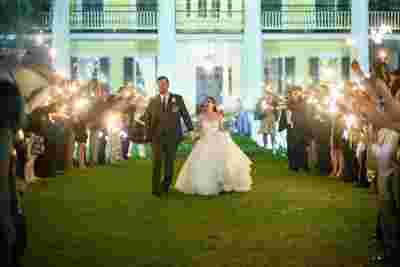Best Professional Luxury Dream Outdoor Wedding Photography of Bride Groom Sparklers Recessional at Houmas House Plantation Louisiana Photo 16